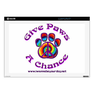 Give Paws A Chance purple peace Laptop Decals