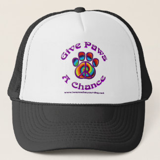 Give Paws A Chance purple peace Trucker Hat