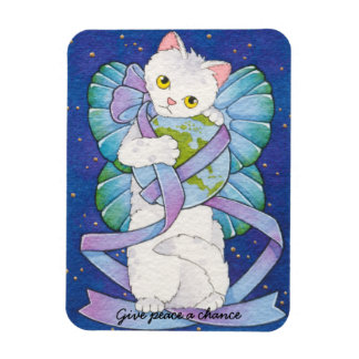 Give Peace a Chance Cat Fairy Magnet Moussart