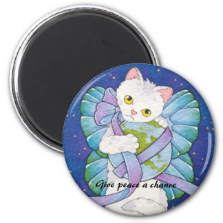 Give Peace a Chance Cat Round Magnet Moussart