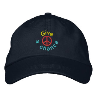 Give Peace A Chance Embroidered Baseball Hat