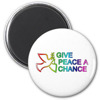 Give Peace a Chance (Rainbow) 2 Inch Round Magnet
