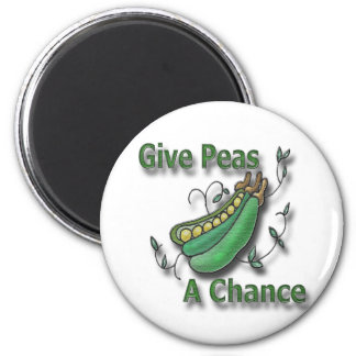 Give Peas A Chance green 2 Inch Round Magnet