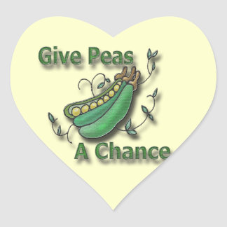 Give Peas A Chance green Heart Sticker