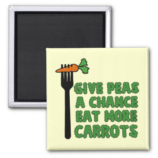 Give peas a chance 2 inch square magnet