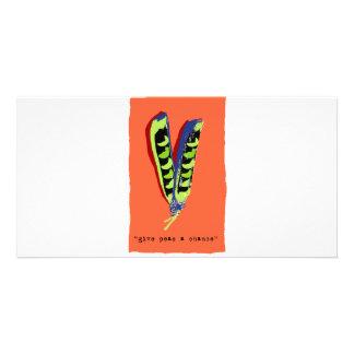 give peas a chance-orange photo greeting card