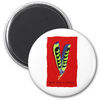give peas a chance-red 2 inch round magnet