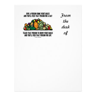 Give Person Some Vegetables Feed For A Day Saying Letterhead