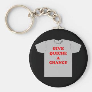 'Give Quiche A Chance' Basic Round Button Keychain