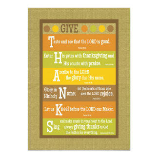 GIVE THANKS 2-Sided Scripture Thanksgiving Card Personalized Invites