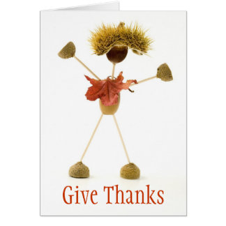 Give Thanks Acorn Stick Man Thanksgiving Card