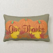 Give Thanks Autumn Harvest Thanksgiving Lumbar Pillow