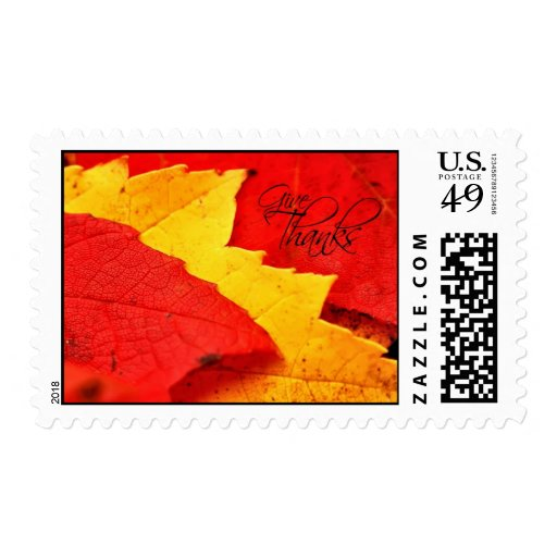 Give Thanks Autumn Leaves Postage