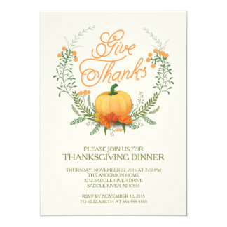 Give Thanks Autumn Wreath Thanksgiving Invitation