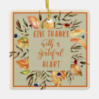 Give Thanks - Autumn Wreath Thanksgiving Ornament