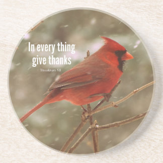 Give Thanks Bible Verse Drink Coaster