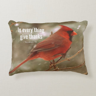 Give Thanks Bible Verse Accent Pillow
