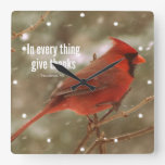 Give Thanks Bible Verse Square Wall Clock