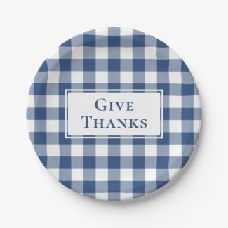 Give Thanks Blue White Gingham Plaid Thanksgiving Paper Plate