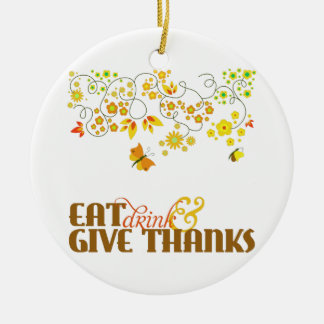 Give Thanks Ceramic Ornament