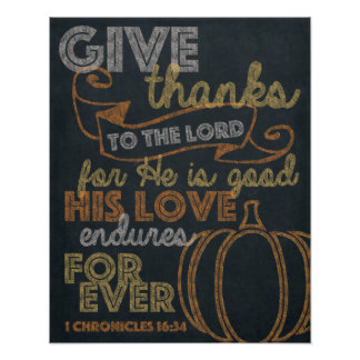 Give Thanks Chalkboard Art 16x20 Poster