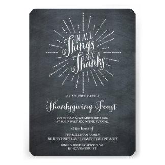 Give Thanks Chalkboard Thanksgiving Invitation