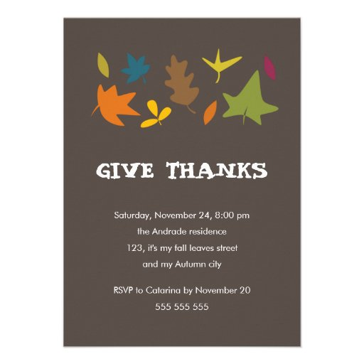 Give Thanks Colorful Leaves Fall Thanksgiving Custom Invites