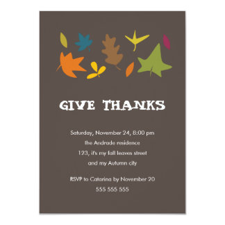 Give Thanks Colorful Leaves Fall Thanksgiving 4.5x6.25 Paper Invitation Card