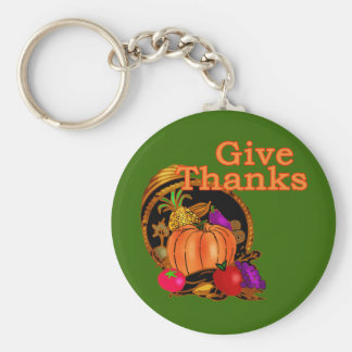Give Thanks Cornucopia for Thanksgiving Basic Round Button Keychain
