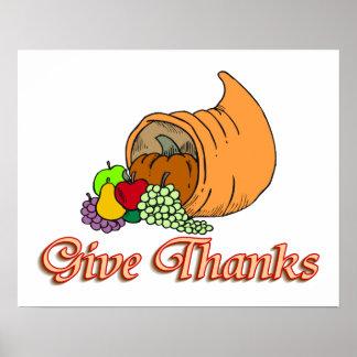 Give Thanks Cornucopia Poster
