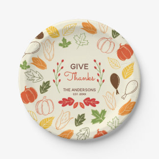Give Thanks. Custom Name and Date. Paper Plate