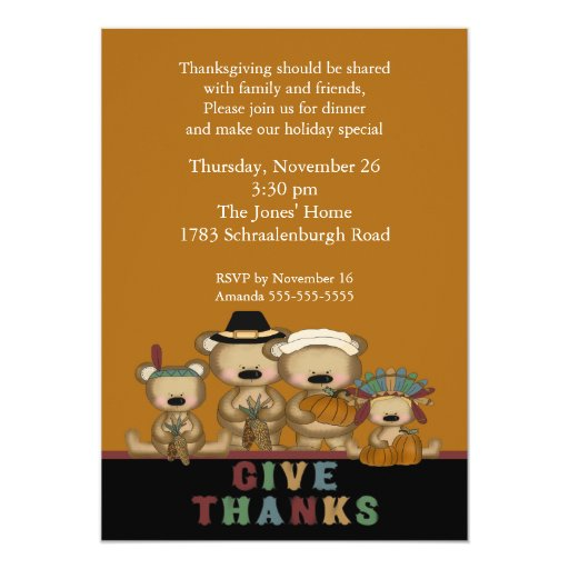 Give Thanks Cute Bears Thanksgiving Invitation