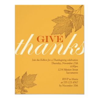 Give thanks fall brown leaves Thanksgiving dinner Personalized Invite
