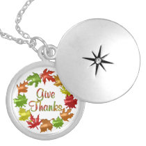 Give Thanks Fall Leaves Locket Necklace