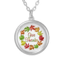 Give Thanks Fall Leaves Silver Plated Necklace