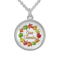 Give Thanks Fall Leaves Sterling Silver Necklace