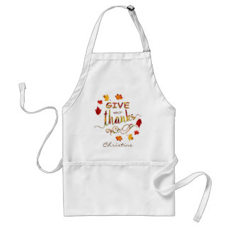 Give Thanks Fall Rustic Thanksgiving Monogram Adult Apron