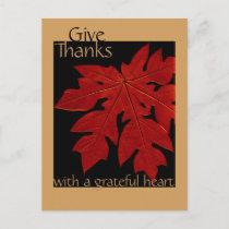 Give Thanks Fall Thanksgiving Prayer Custom Holiday Postcard
