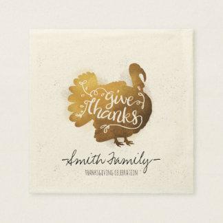 Give Thanks. Family Thanksgiving Celebration. Napkin
