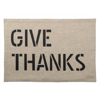 Give Thanks faux linen burlap rustic chic jute Placemat