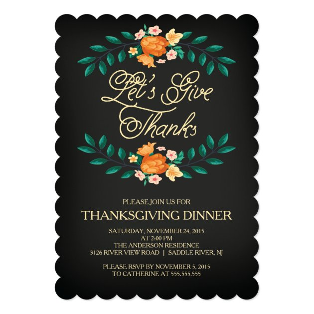 Give Thanks Floral Thanksgiving Dinner Party Card