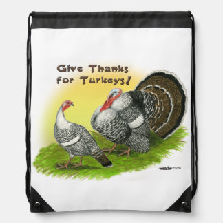 Give Thanks For Turkeys! Drawstring Bag