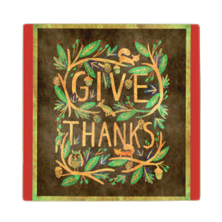 Give Thanks Holiday Coaster Forest Leaves Critters