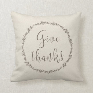 Give thanks holiday pillow