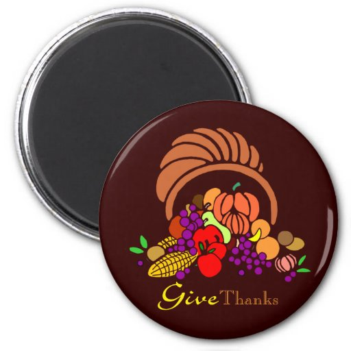 Give Thanks - Horn of Plenty 2 Inch Round Magnet