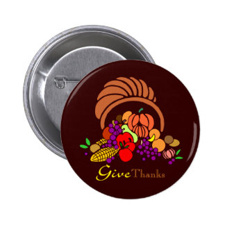 Give Thanks - Horn of Plenty Pinback Button