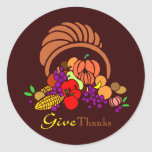Give Thanks - Horn of Plenty Round Stickers