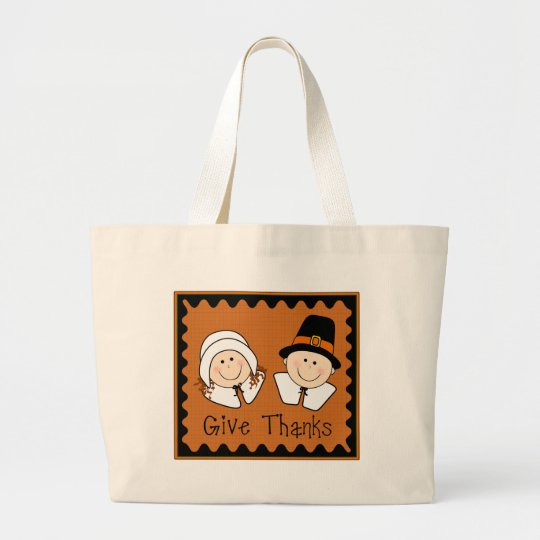 Give Thanks Large Tote Bag
