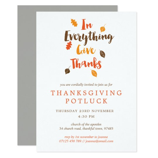 Give Thanks Leaves Thanksgiving Potluck Invitation Zazzlecom