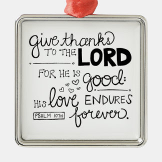 Give thanks metal ornament